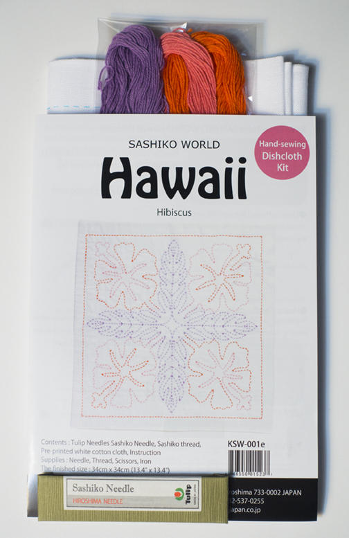 "Hibiscus Sashiko Kit-  Hawaiian flora pattern on white fabric. finished size 13"" x13"" backing included. Kit includes sampler, thread and needle.Pattern washes out after stitching is finished    $20.50"