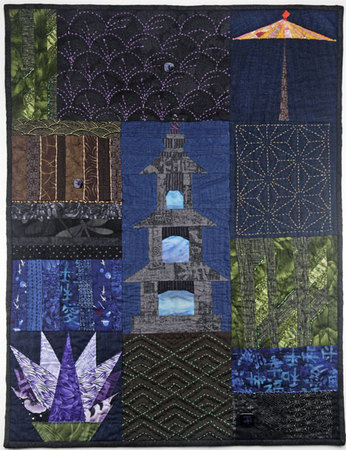 Japan by Way of Randall, this quilt is published in the book Pieced Symbols, Quilt Blocks From The Global Village by Myrah Brown Green. Japanese fabrics, sashiko, beading, paper piecing, hand quilting.