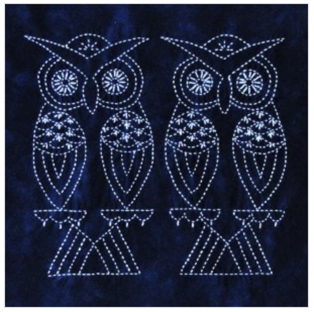 Two Owls Sashiko panel pre-printed on dark blue fabric. Includes instructions. 14.5 x14.5. Thread not included. Olympus white #1. We have the threads, you need one package. $24 : Foliage & Bird Sashiko : Easy Piecing: Sashiko Supplies: Shweshwe Fabric: Japanese Fabrics