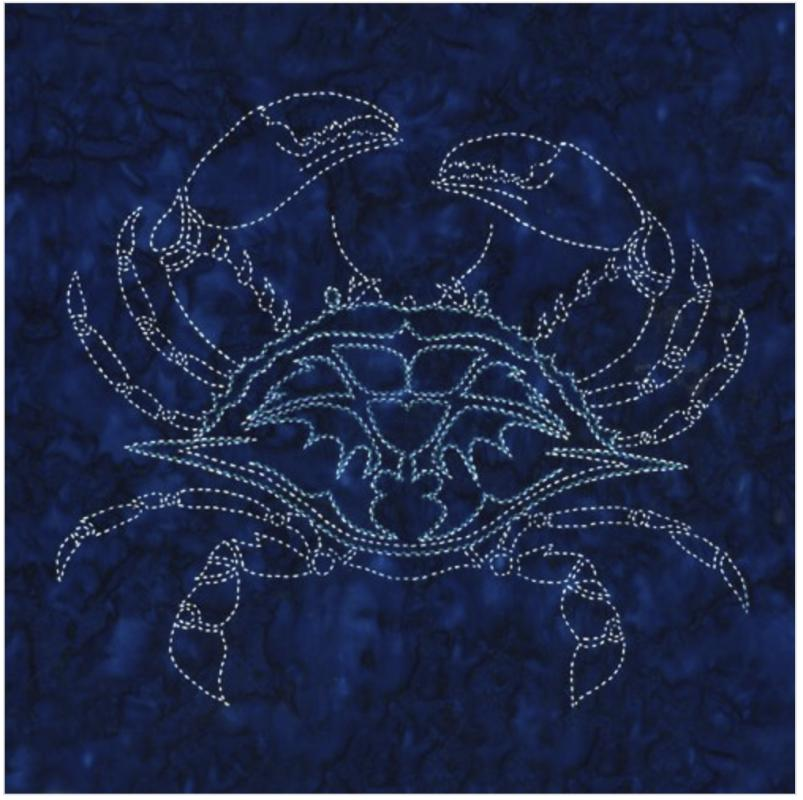 Crab Sashiko panel pre-printed on indigo batik. Includes instructions. 16 x16. Thread not included. Olympus #1 white & #17 Cyan blue. We have the threads, you need one of each color. $24 : Sea Life Sashiko : Easy Piecing: Sashiko Supplies: Shweshwe Fabric: Japanese Fabrics