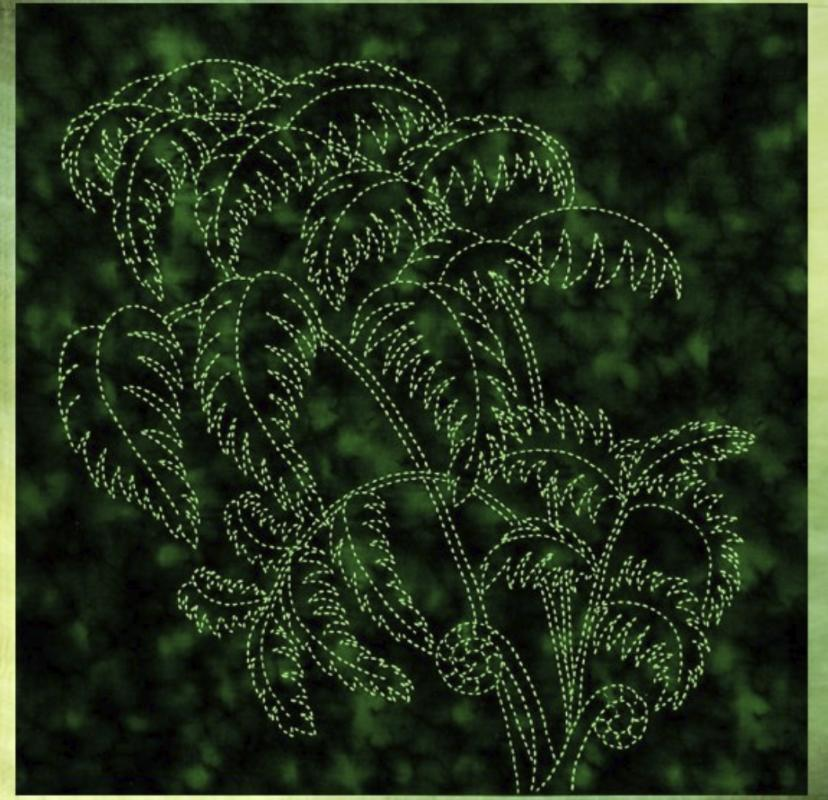 Tree Fern Sashiko panel pre-printed on dark green fabric. Includes instructions. 16 x16. Thread not included. Olympus light green #6. We have the threads, you need one package. $24 : Foliage & Bird Sashiko : Easy Piecing: Sashiko Supplies: Shweshwe Fabric: Japanese Fabrics