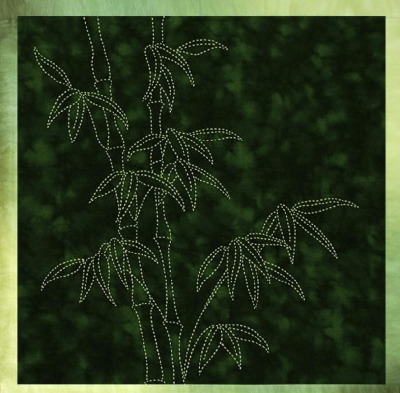 Bamboo Sashiko panel pre-printed on dark green fabric. Includes instructions. 16 x16. Thread not included. Olympus light green #6. We have the threads, you need one package. $24 : Foliage & Bird Sashiko : Easy Piecing: Sashiko Supplies: Shweshwe Fabric: Japanese Fabrics
