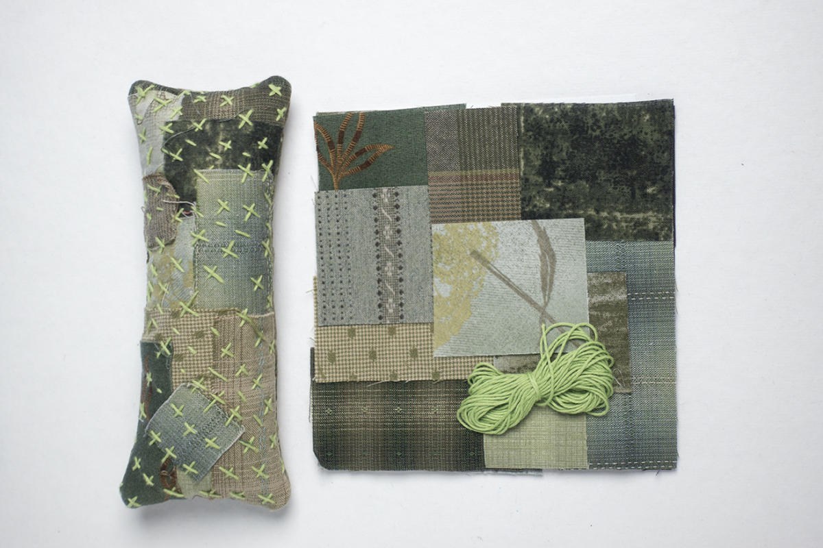 This Boro pin cushion kit is a great way to learn the basics. Kit includes all green fabrics for the top and back along with Sashiko thread. Finished size 3 x7 $10.00 : BORO : Easy Piecing: Sashiko Supplies: Shweshwe Fabric: Japanese Fabrics