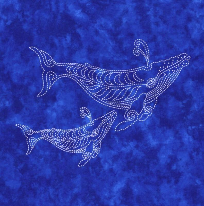 Two Whales Sashiko panel pre-printed on blue fabric. Includes instructions. 16x16. Thread not included. Olympus white #1. We have the threads, you need one package. $24 : Sea Life Sashiko : Easy Piecing: Sashiko Supplies: Shweshwe Fabric: Japanese Fabrics