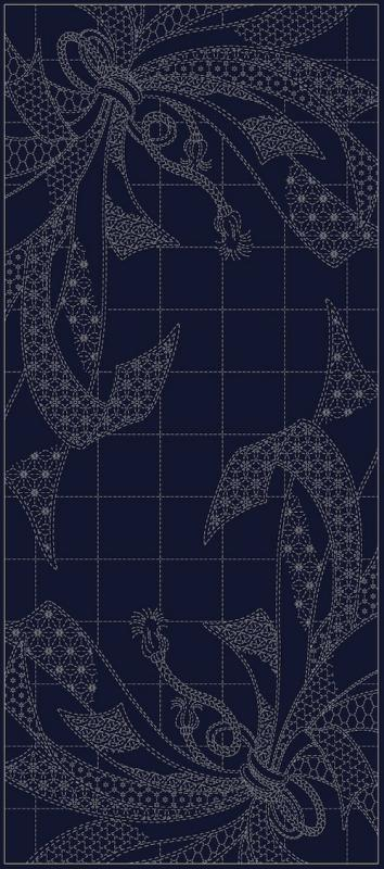 Wagara Sashiko Noshi Ribbons panel pre-printed on Navy blue fabric. 31 3/4(L) x 43/44(w). $24 : Sashiko Samplers : Easy Piecing: Sashiko Supplies: Shweshwe Fabric: Japanese Fabrics
