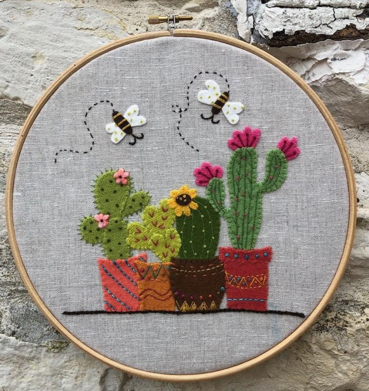 Cactus french appliqué embroidery kit from Atelier dIsabelle. Includes linen, wool, wool felt and threads. Not included 8 inch hoop-Sale $20 was $25 : Embroidery Kits Sale : Easy Piecing: Sashiko Supplies: Shweshwe Fabric: Japanese Fabrics