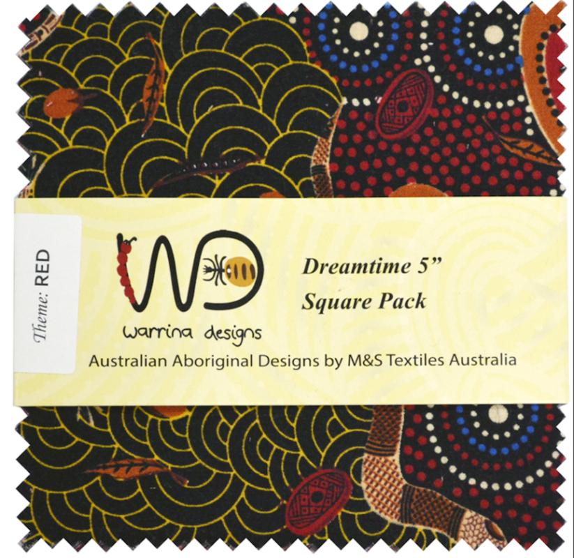 Dreamtime 5 inch Squares- Red - includes 40 squares- 20 designs- 2 of each : ABORIGINAL FABRIC  : Easy Piecing: Sashiko Supplies: Shweshwe Fabric: Japanese Fabrics