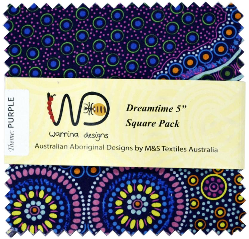 Dreamtime 5 inch Squares- Purple - includes 40 squares- 20 designs- 2 of each : ABORIGINAL FABRIC  : Easy Piecing: Sashiko Supplies: Shweshwe Fabric: Japanese Fabrics