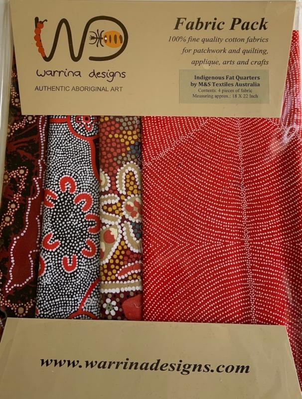 Warrina Design Fat Quarter Pack Red- includes 4 fat 1/4-