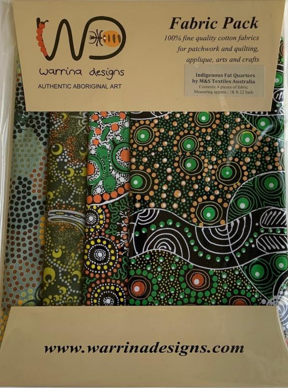 Warrina Design Fat Quarter Pack Green- includes 4 fat 1/4-