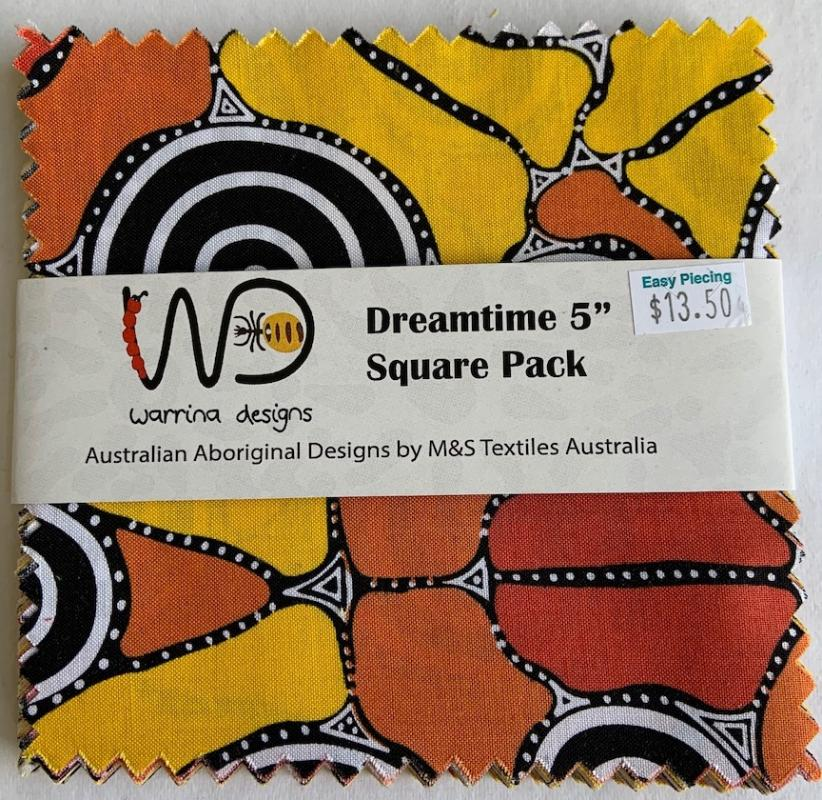 Dreamtime 5 inch Squares- Yellow- includes 40 squares-20 designs- 2 of each : ABORIGINAL FABRIC  : Easy Piecing: Sashiko Supplies: Shweshwe Fabric: Japanese Fabrics