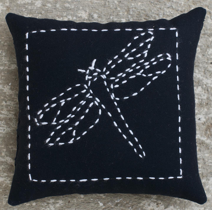 Dragonfly Sashiko pin cushion kit includes pre printed solid lines for stitching. Design washes out. Sashiko thread and backing included. 100% cotton Finished size 5 x 5 inches. $6.00 : Sashiko Kits : Easy Piecing: Sashiko Supplies: Shweshwe Fabric: Japanese Fabrics
