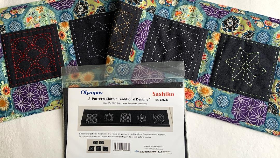 Sashiko Traditional Designs Sampler. Navy. 5 patterns, each finishes 4 x 4 Design  washes out, backing not included. Print fabric not included. Cut apart or leave as is.$14.50 : Sashiko Samplers : Easy Piecing: Sashiko Supplies: Shweshwe Fabric: Japanese Fabrics
