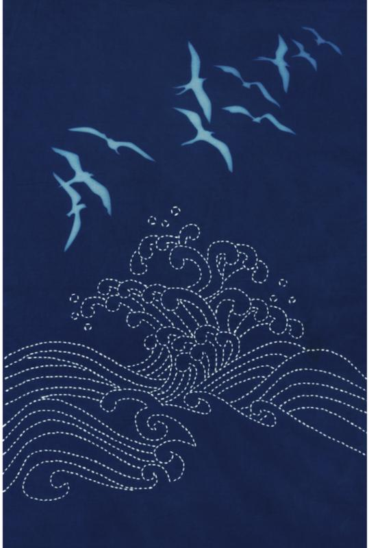 Ocean Birds Cyanotype Sashiko panel pre-printed fabric. Includes instructions. 11 x16. Thread not included. Olympus white #1. We have the threads, you need one package. $24 : Sea Life Sashiko : Easy Piecing: Sashiko Supplies: Shweshwe Fabric: Japanese Fabrics