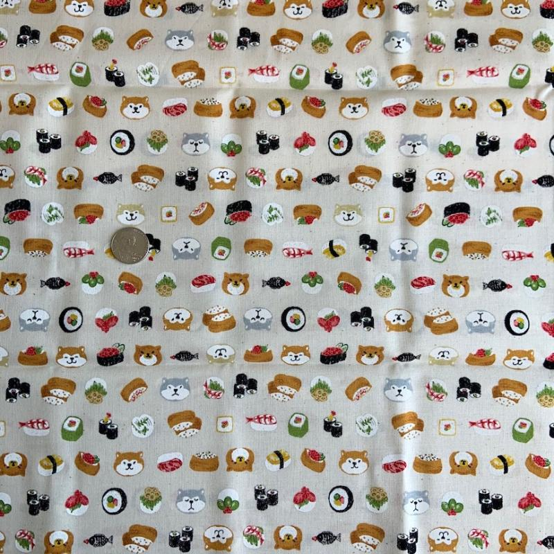 Shiba Inu dogs with sushi-100% cotton : JAPANESE FABRIC : Easy Piecing: Sashiko Supplies: Shweshwe Fabric: Japanese Fabrics