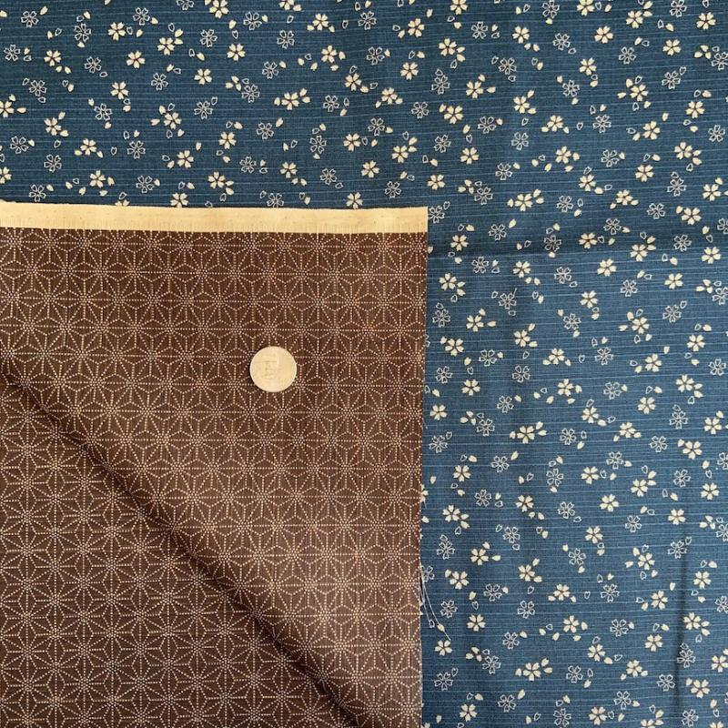 Sevenberry Double Sided Navy/Brown- Two for One - double sided fabric. You can use both sides. Traditional patterns Textured. 100% cotton  : JAPANESE FABRIC : Easy Piecing: Sashiko Supplies: Shweshwe Fabric: Japanese Fabrics