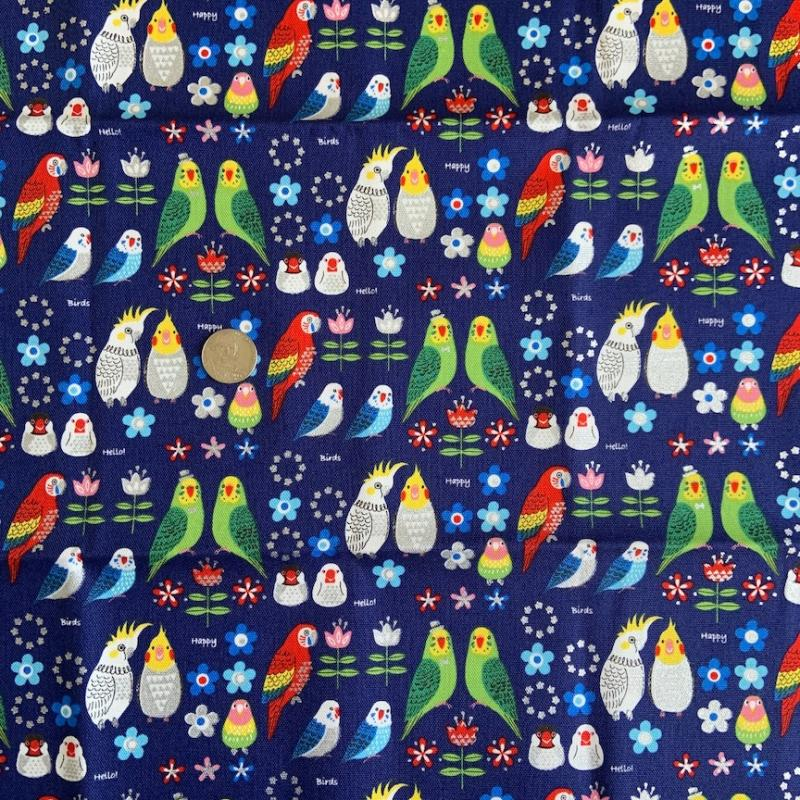 Kokka Birds- Parrots- silver metallic details-  100% cotton- lightweight oxford : JAPANESE FABRIC : Easy Piecing: Sashiko Supplies: Shweshwe Fabric: Japanese Fabrics