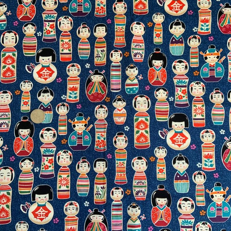 Kokeshi Dolls-100% cotton : JAPANESE FABRIC : Easy Piecing: Sashiko Supplies: Shweshwe Fabric: Japanese Fabrics