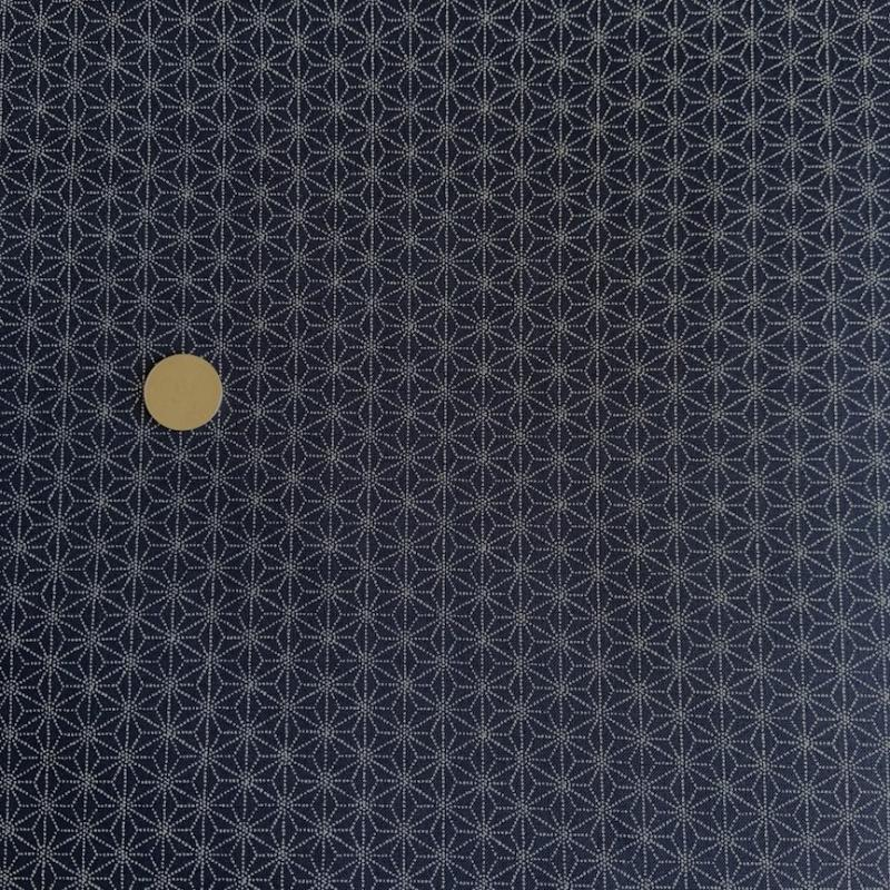 Hemp Leaf- dark indigo-100% cotton  : JAPANESE FABRIC : Easy Piecing: Sashiko Supplies: Shweshwe Fabric: Japanese Fabrics