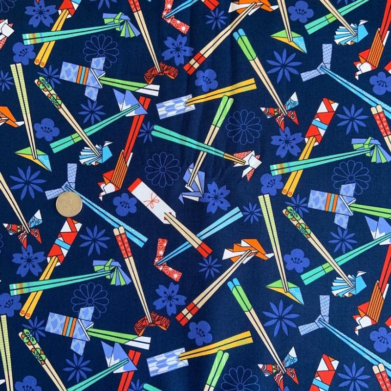 Chopsticks- 100% cotton : JAPANESE FABRIC : Easy Piecing: Sashiko Supplies: Shweshwe Fabric: Japanese Fabrics