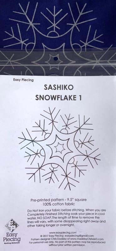 "Number 1 Sashiko Snowflake pre-printed pattern. One skein of thread Not included. We have the thread.  Pattern washes out. Each square is 9.5""  $7.95 : New Sashiko Snowflakes : Easy Piecing: Sashiko Supplies: Shweshwe Fabric: Japanese Fabrics"