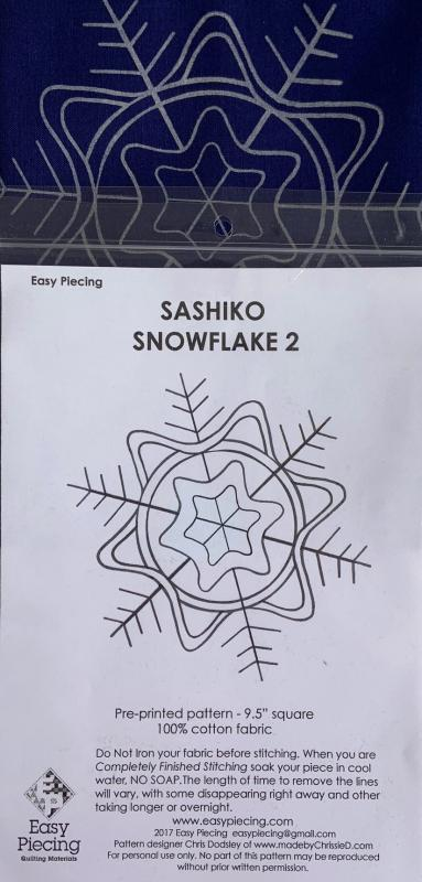 "Number 2 Sashiko Snowflake pre-printed pattern. One skein of thread Not included. We have the thread.  Pattern washes out. Each square is 9.5""  $7.95 : New Sashiko Snowflakes : Easy Piecing: Sashiko Supplies: Shweshwe Fabric: Japanese Fabrics"