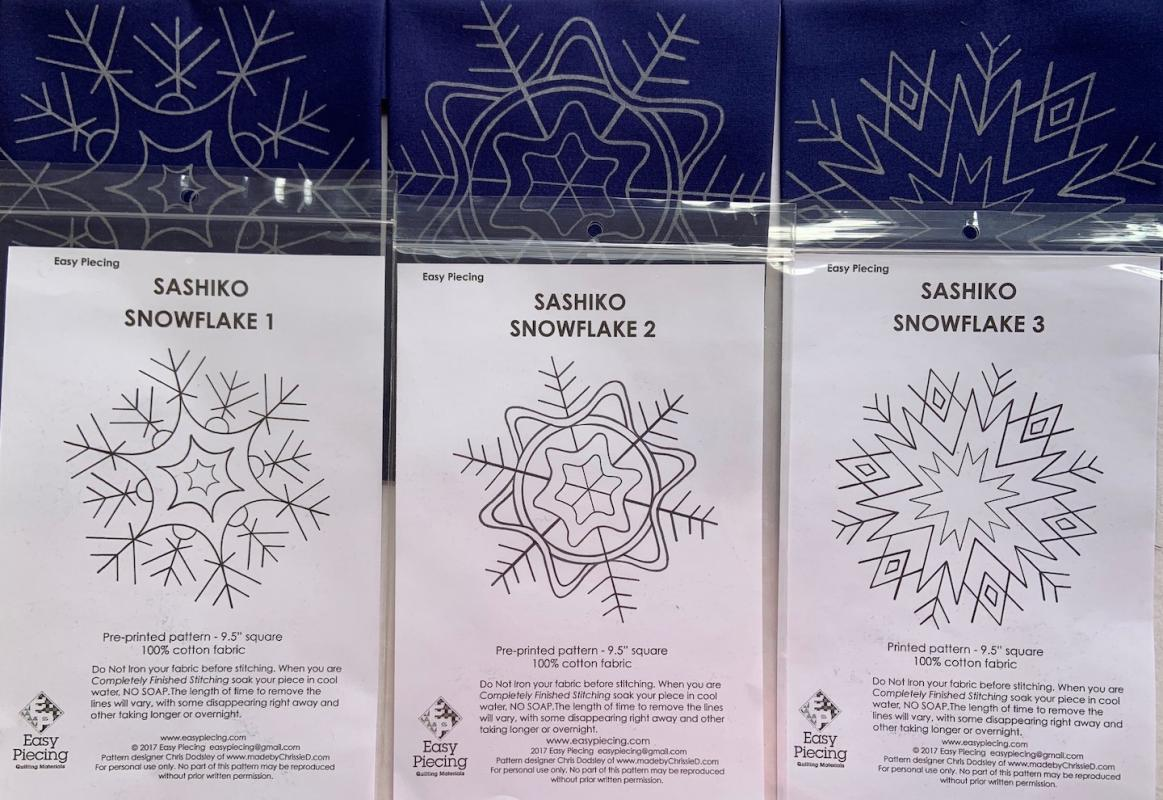 "Three Sashiko Snowflake pre-printed patterns. One skein of thread Not included. We have the thread. Pattern washes out. Each square is 9.5""  Set $22.95 : New Sashiko Snowflakes : Easy Piecing: Sashiko Supplies: Shweshwe Fabric: Japanese Fabrics"