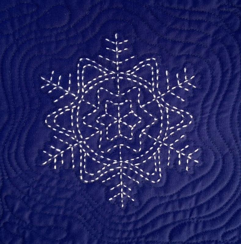 "Number 2 Sashiko Snowflake pre-printed pattern. One skein of thread Not included. We have the thread.  Pattern washes out. Each square is 9.5""  $7.95 : Sashiko Snowflakes : Easy Piecing: Sashiko Supplies: Shweshwe Fabric: Japanese Fabrics"