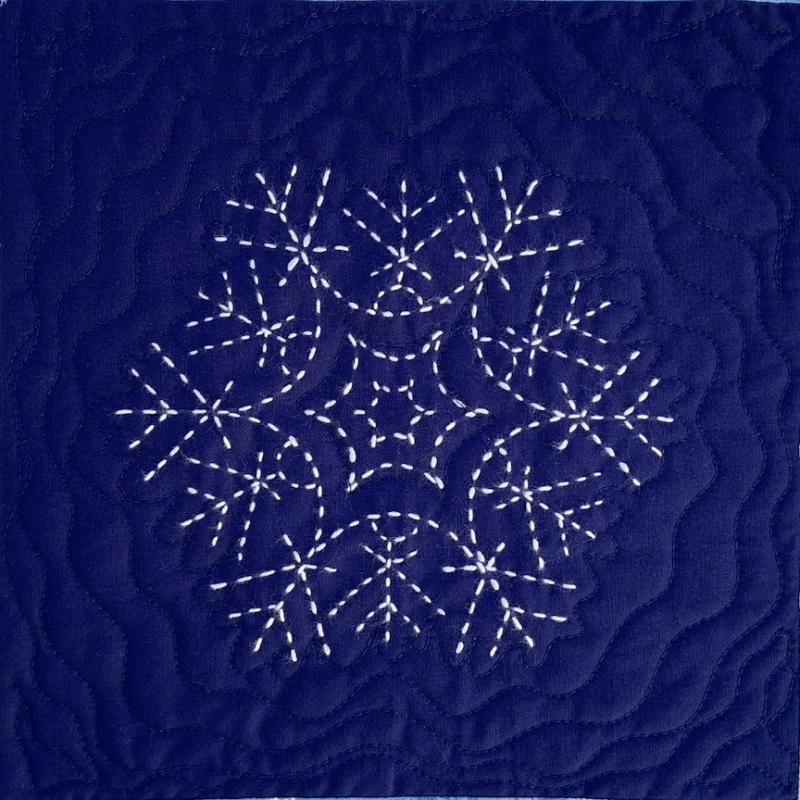 "Number 1 Sashiko Snowflake pre-printed pattern. One skein of thread Not included. We have the thread.  Pattern washes out. Each square is 9.5""  $7.95 : Sashiko Snowflakes : Easy Piecing: Sashiko Supplies: Shweshwe Fabric: Japanese Fabrics"
