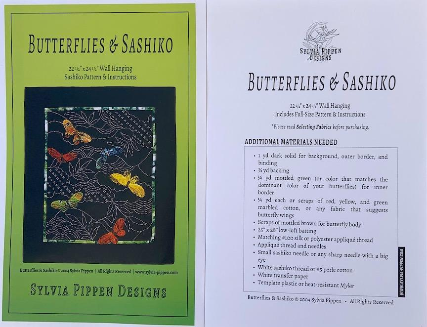 Butterflies and Sashiko PATTERN ONLY. Full size pattern and very good instructions. 21 x 26. Sale $12.00 was $15.00 : Sashiko & Boro : Easy Piecing: Sashiko Supplies: Shweshwe Fabric: Japanese Fabrics