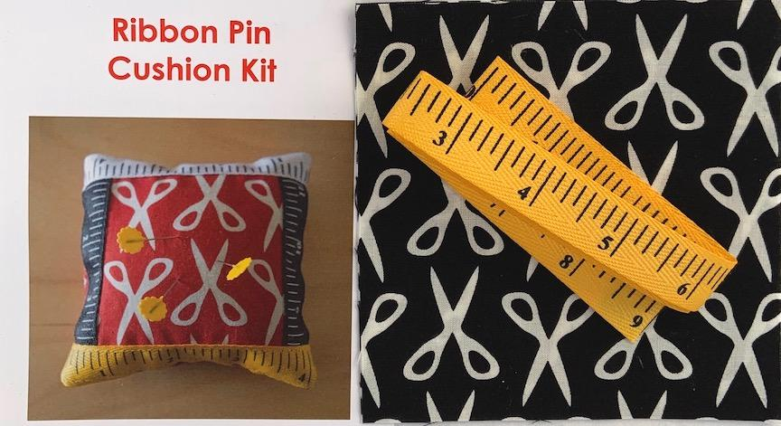 Ribbon Pin Cushion Kit- Black- includes fabric, ribbon & pattern. Finished size 5 x5 Sale $4.00 was $5.00 : Ribbon : Easy Piecing: Sashiko Supplies: Shweshwe Fabric: Japanese Fabrics