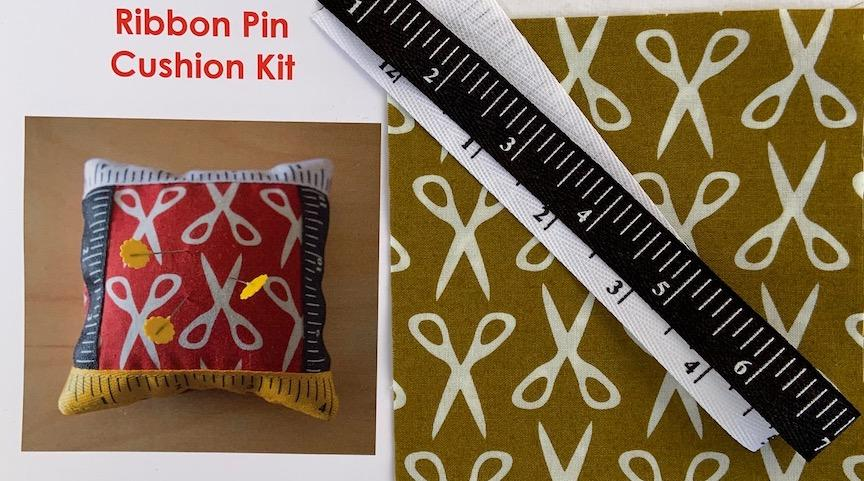 Ribbon Pin Cushion Kit- Olive- includes fabric, ribbon & pattern. Finished size 5 x5 Sale $4.00 was $5.00 : Ribbon : Easy Piecing: Sashiko Supplies: Shweshwe Fabric: Japanese Fabrics
