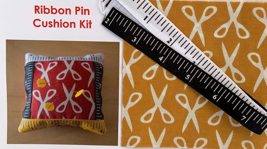 Ribbon Pin Cushion Kit Mustard- includes fabric, ribbon & pattern. Finished size 5 x5 Sale $4.00 was $5.00 : Ribbon : Easy Piecing: Sashiko Supplies: Shweshwe Fabric: Japanese Fabrics