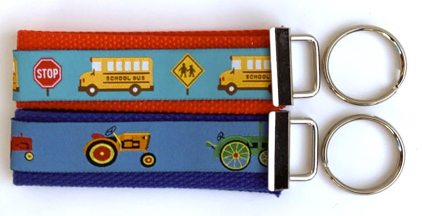 Key Fob Kit Set-School Bus & Tractor- Sale $8.00- was $10 : Key Fobs : Easy Piecing: Sashiko Supplies: Shweshwe Fabric: Japanese Fabrics