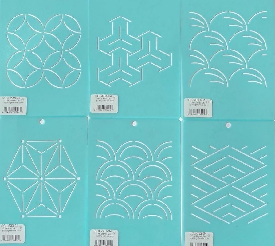 Draw your own patterns with this mini stencil set. Each design 4 x4 inches.